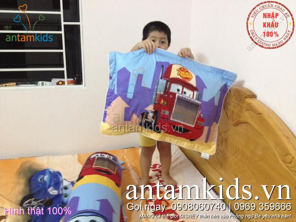 Chăn ga gối hình ô tô McQueen của bé trai Hà Nội antamkidsvn