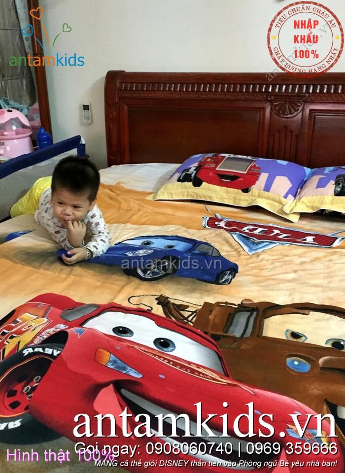 Chăn ga gối hình ô tô McQueen cho bé trai mê xe hơi antamkidsvn