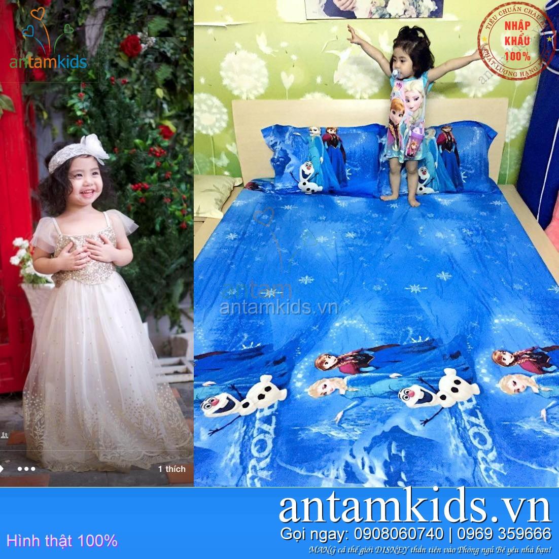 Bộ chăn ga gối Nữ hoàng băng giá Frozen Elsa - Công chúa Anna màu xanh