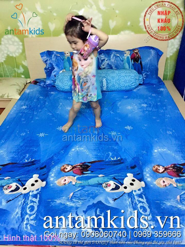 Bộ chăn ga gối cho bé gái hình Công chúa Frozen Elsa Anna màu xanh