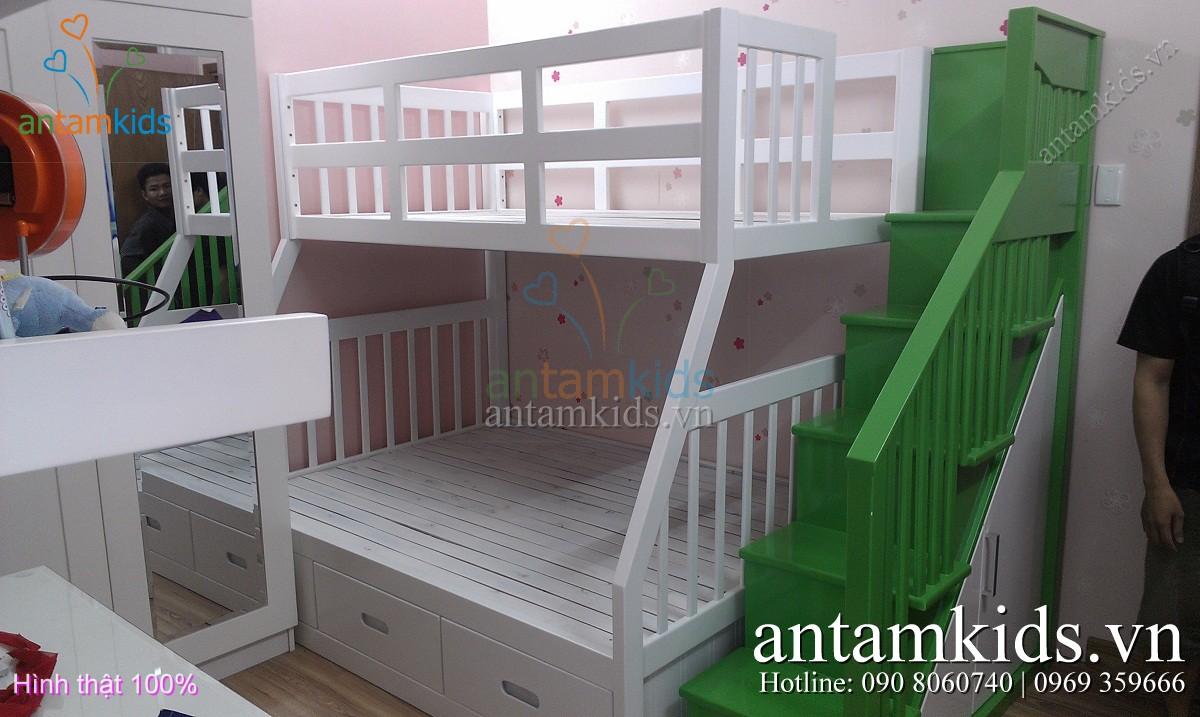 Giường 2 tầng gỗ tự nhiên xoan đào sơn phủ màu trắng cho bé nhà chị Hoàng Anh_Q.1 tp. Hồ Chí Minh