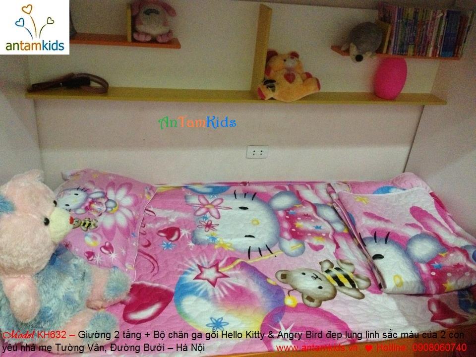 Bộ giường 2 tầng đa năng KH638 và bộ chăn ga gối đệm hoạt hình Hello Kitty & Angry Bird xinh yêu lung linh sắc màu - Chị Tường Vân mới mua nhà AnTamKids dành tặng 2 con yêu: bé Nhím & bé Mít đấy ạ!
