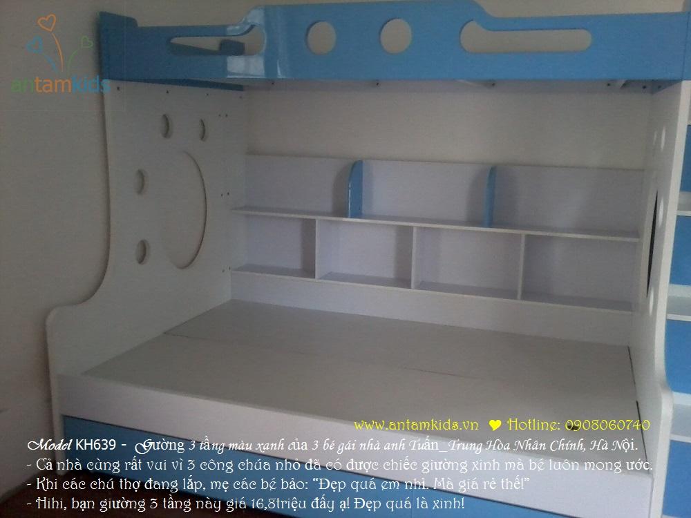 Gường 3 tầng KH639 màu xanh biển siêu đẹp của 3 bé gái nhà anh Tuấn, Hà Nội