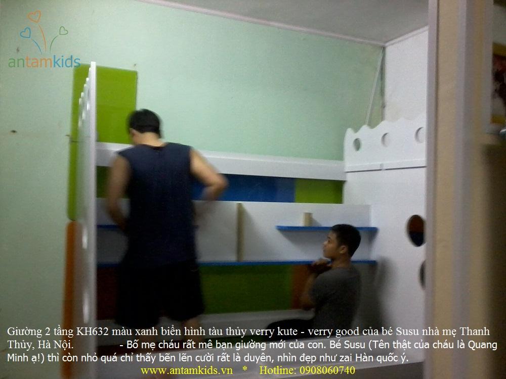 Giường 2 tầng KH632 màu xanh biển hình tàu thủy verry kute - verry good của bé Susu nhà mẹ Thanh Thủy, Hà Nội