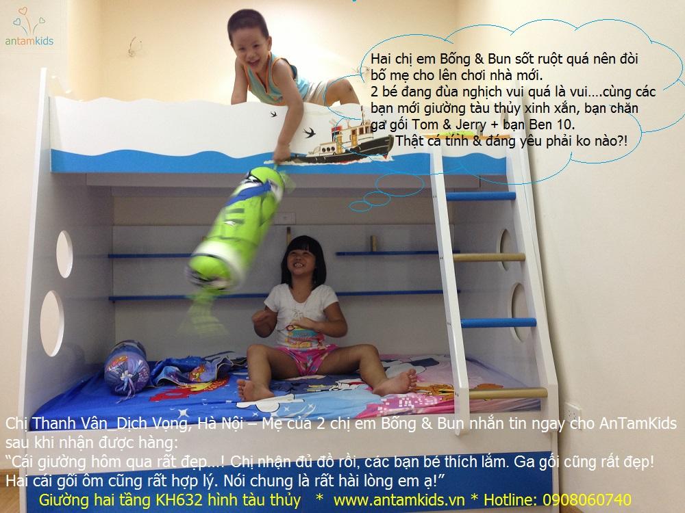 Giường tầng trẻ em KH632 màu xanh biển hình tàu thủy ra khơi  của chị Bống & em Bun nhìn đáng yêu ko nào các bạn?!