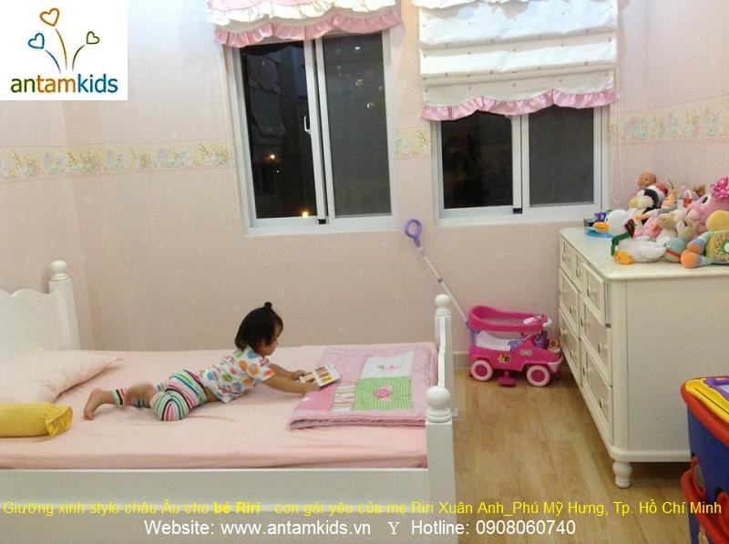 Giường ngủ xinh phong cách nội thất châu Âu cho bé Riri – con gái yêu của Mẹ Xuân Anh_Phú Mỹ Hưng, Tp. Hồ Chí Minh