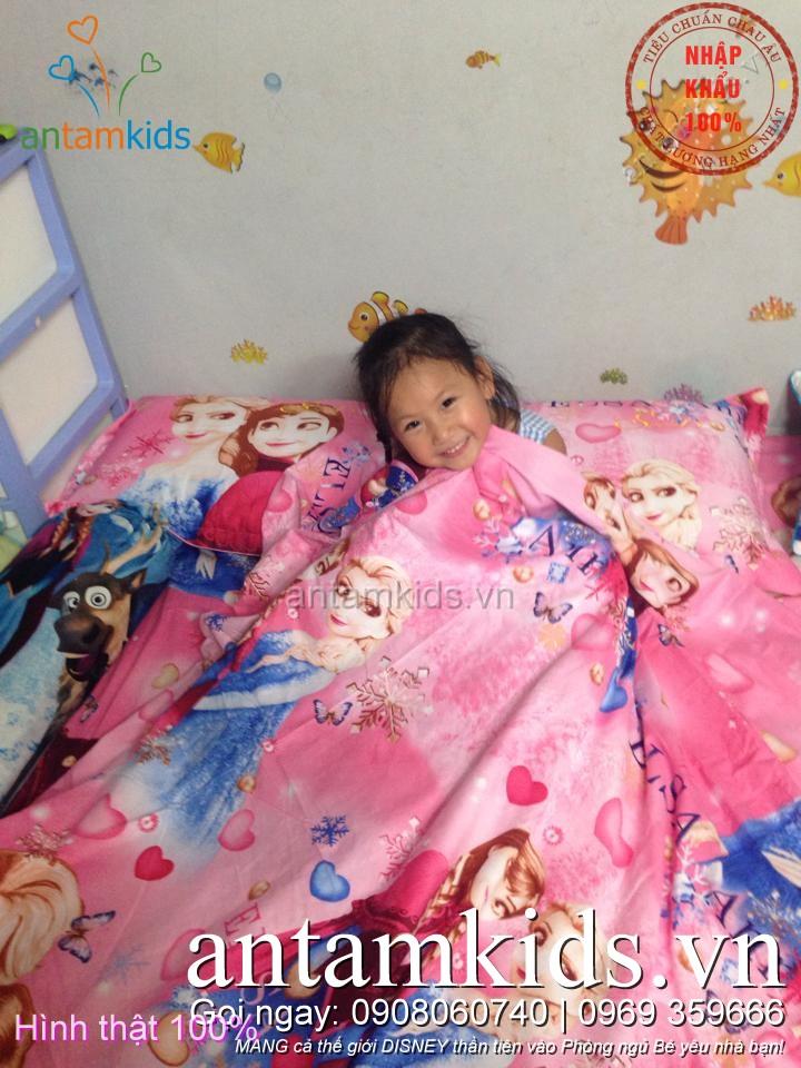 Bộ chăn ga gối Nữ hoàng Băng giá Frozen Anna Elsa sắc hồng mộng mơ