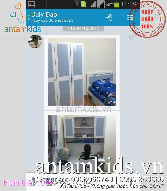 Phòng ngủ trẻ em cao cấp nhập khẩu Tomy Niki cho bé trai bé gái AnTamKids.vn