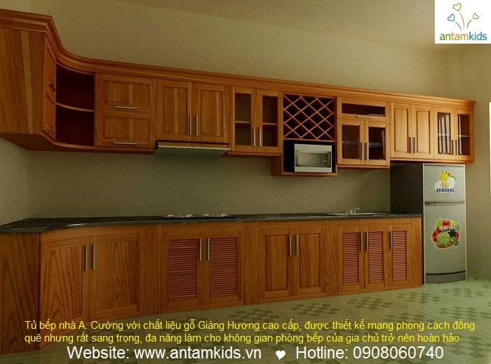 Tủ bếp nhà A. Cường_Quảng Ninh với chất liệu gỗ Giáng Hương cao cấp - Nội thất AnTamKids