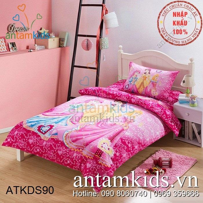 Chăn ga gối mền drap trải giường Công chúa hồng mộng mơ cho bé gái