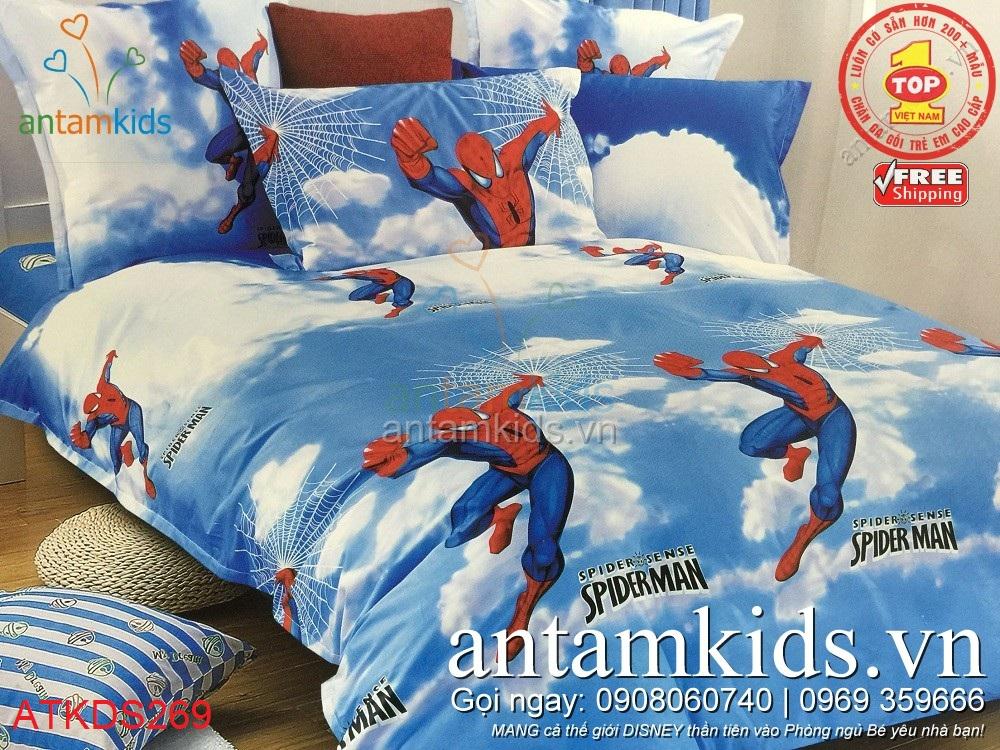 Chăn ga gối cho bé trai in hình Người nhện Spider-Man siêu nhân cực đẹp