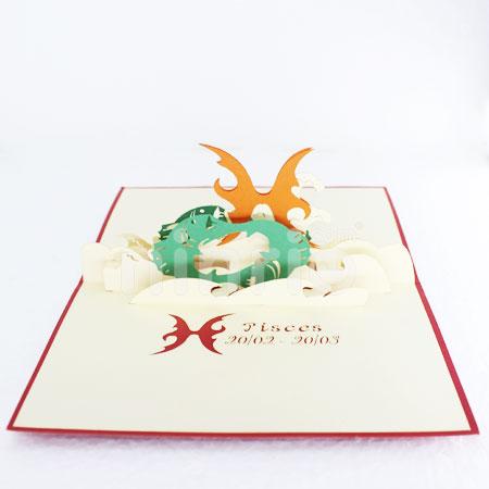 Pisces 3d Cardpopupbirthday Card