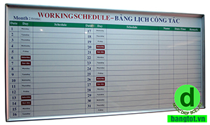 bảng kế hoạch công việc vĩnh long