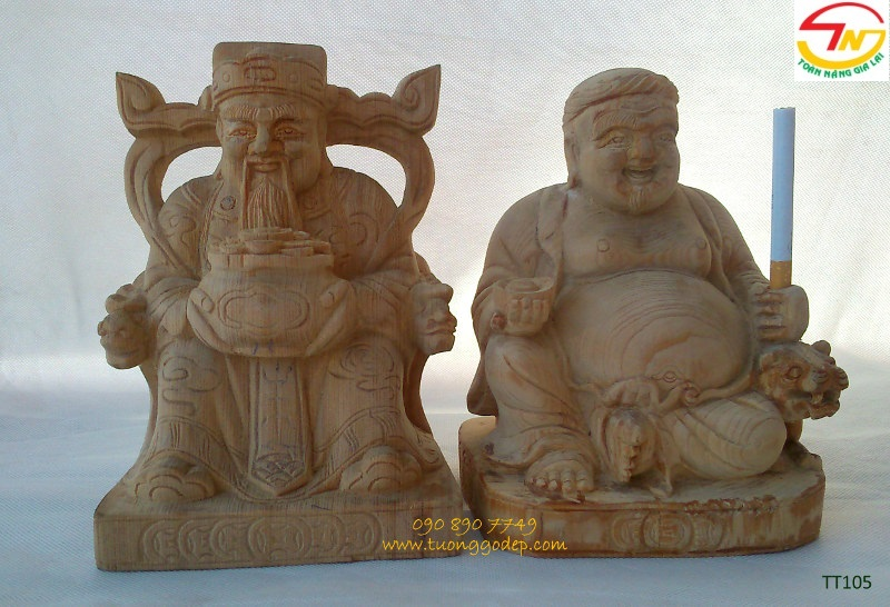 Tượng Thần tài ông địa bằng gỗ