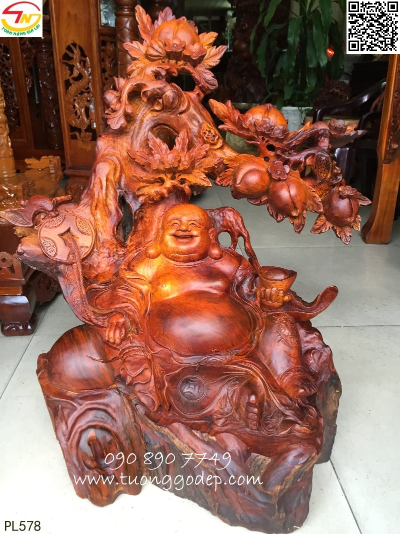 Tượng Phật Di Lặc gỗ hương