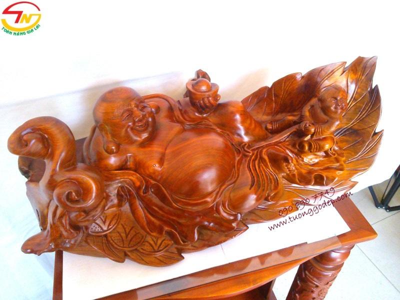 Tượng Gỗ hương Phật Di Lặc ngồi lá đào