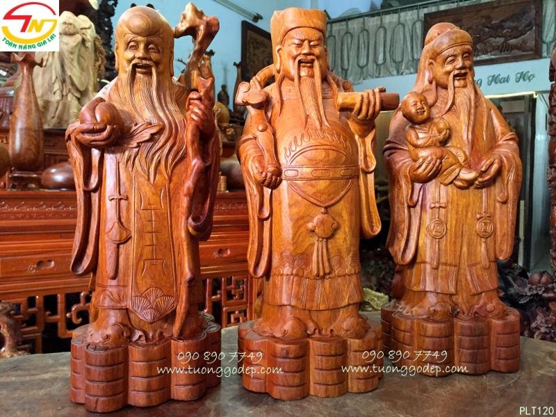 Tượng Phúc Lộc Thọ bằng gỗ