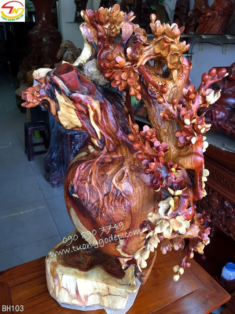 Bình gỗ hoa mai