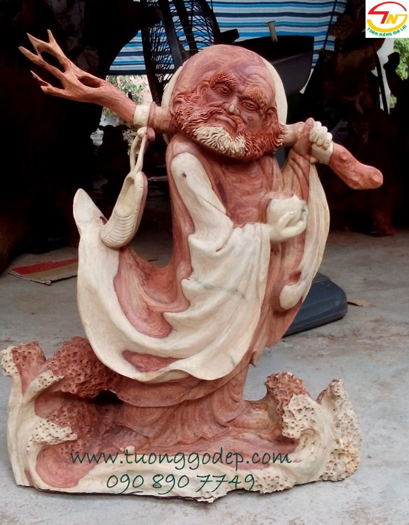 tượng đạt ma bằng gỗ