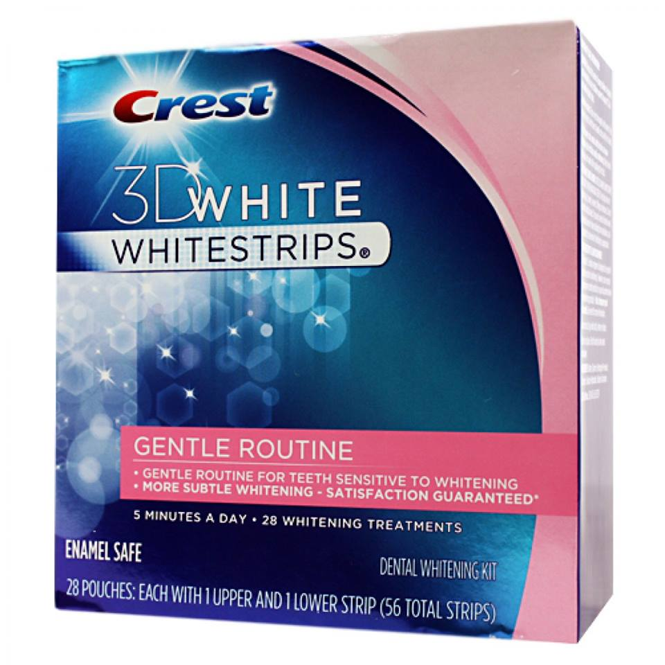 Miếng dán trắng răng Crest 3D White Whitestrips, Gentle Routine Dental Whitening Kit