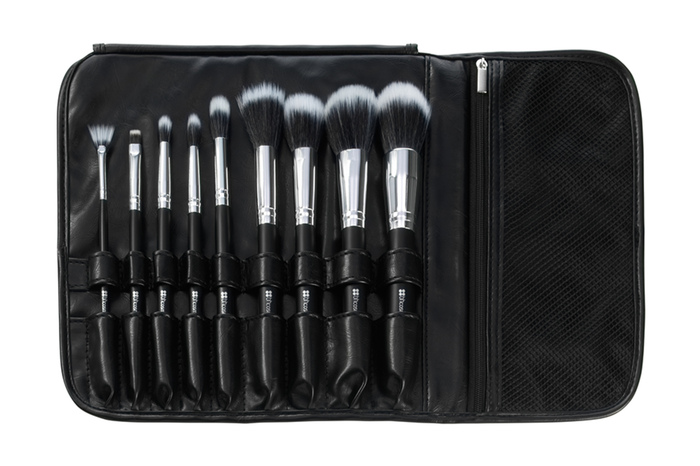 Bộ Cọ 9 cây BH Cosmetic Dual Fiber - 9 Piece Brush Set with Black Brush Roll