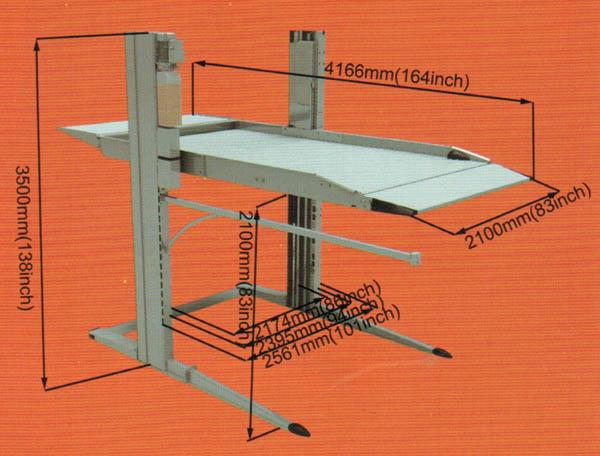 Cầu nâng đỗ xe gia đình GC-2.8TPA, kích thước cầu