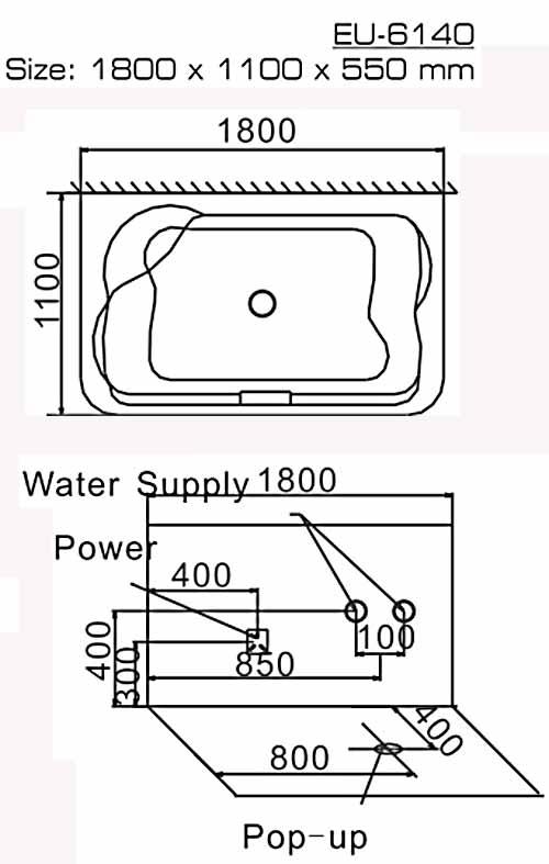 Bản vẽ kỹ thuật lắp đặt bồn tắm massage Euroking EU-6140