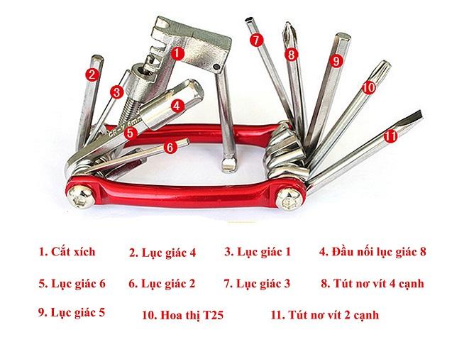 Bộ đồ nghề sửa xe đạp đa năng 15 trong 1 có mở xích