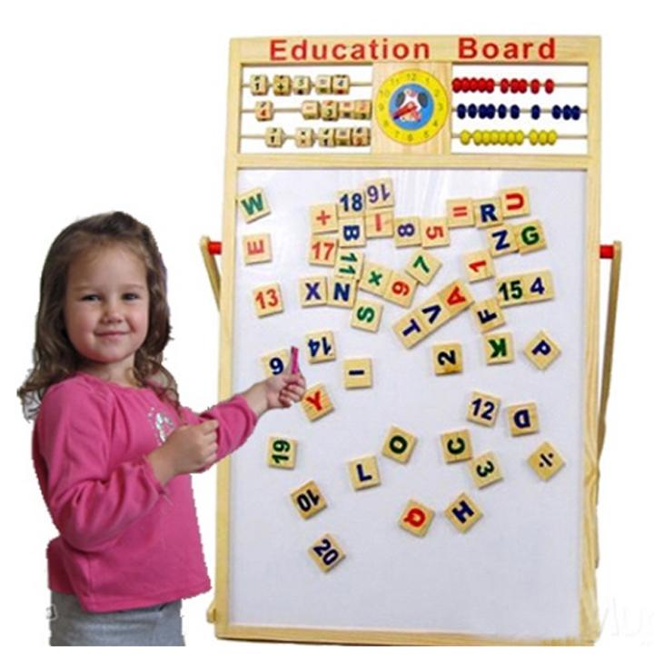 Bảng gỗ giáo dục 2 mặt nam châm kèm bộ chữ và số cho bé