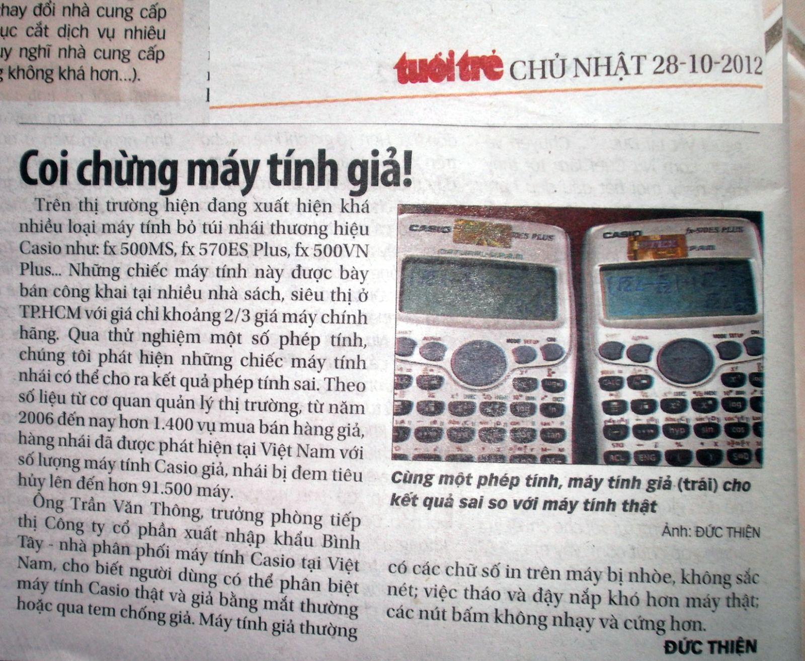 bài cảnh báo máy tính giả đăng trên báo Tuổi Trẻ ngày 28-10-2012