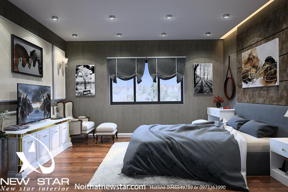 Phòng ngủ mang phong cách thiết kế Mỹ tân cổ điên