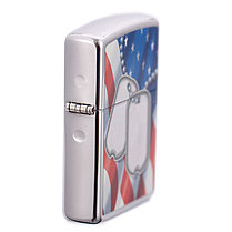 Zippo Flag and Dog Tags HP Chrome Lighter Flint Pack