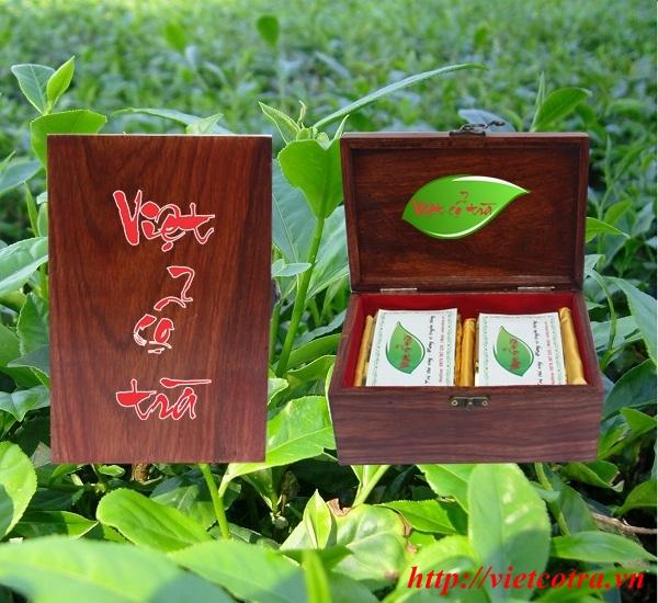 Hộp trà biếu sang trọng bằng gỗ Hương
