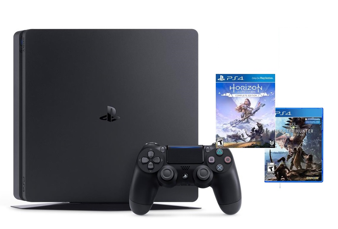 ps4-slim-500gb-2-game-horizon-zero-dawn-complete-va-monter-hunter-world