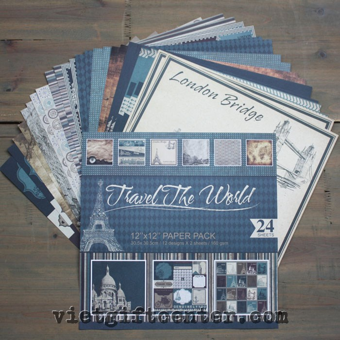 "Giấy scrapbook ""travel the world"""