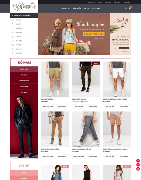 Giao diện web bán hàng New Boutique