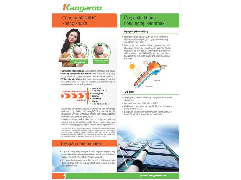 đặc điểm máy nước nóng năng lượng mặt trời kangaroo pt2022