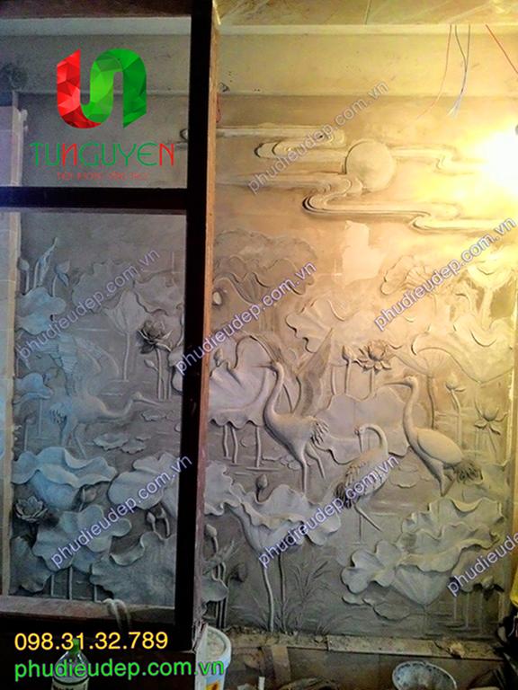 tranh dap xi mang hoa sen, tranh phu dieu dap xi mang gia dong