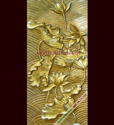 tranh phù điêu hoa sen cách điệu tại Nghệ An