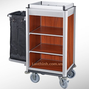 Aluminium maid cart, Anodised finished frame, Dark oak laminated panel, 3161231