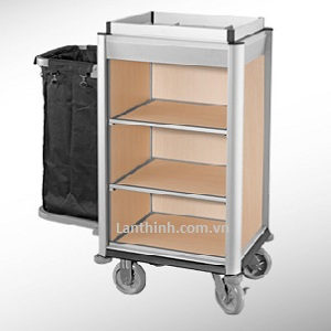 Aluminium maid cart, Anodised finished frame, light oak laminated panel, 3161211