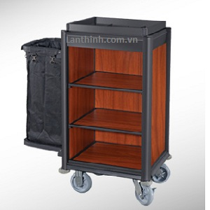 Aluminium maid cart, black finish frame, Dark oak laminated panel, 3161431