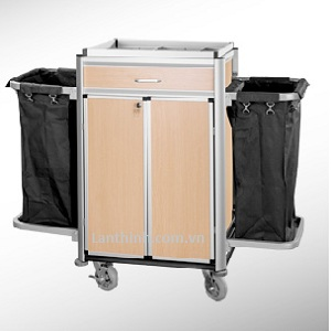 Aluminium maid cart with door and drawer, 3162212DW