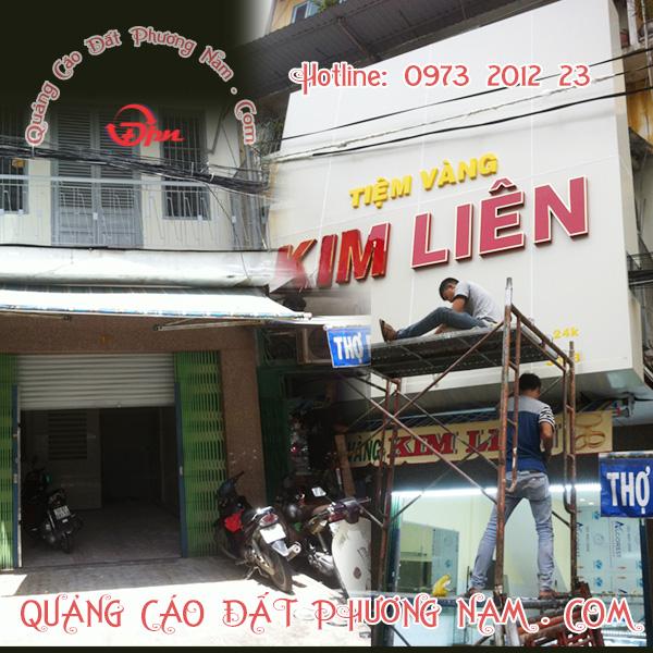 Bảng hiệu Alu Chữ nỗi mica - Trang trí ốp alu bên trong nội thất của tiệm vàng Kim Liên Chợ An Đông