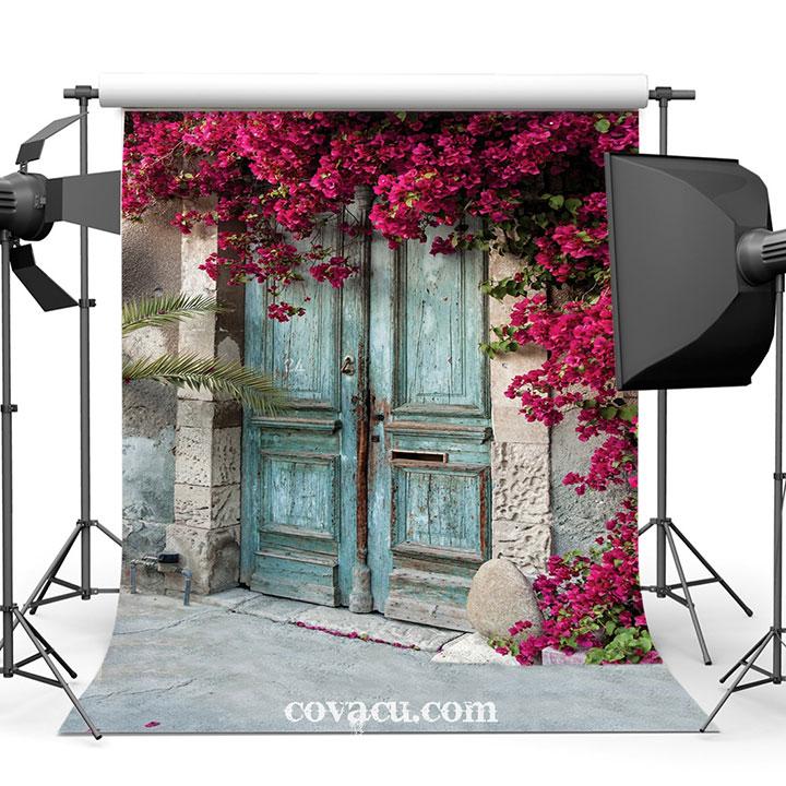 Phông vải chụp ảnh sản phẩm 3D cửa gỗ