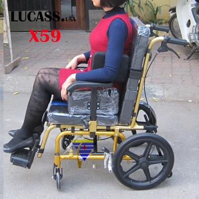 Xe lăn cho trẻ em bại não, người lớn nhỏ nhắn Lucass X59