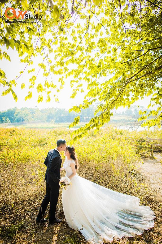 Chụp ảnh cưới đẹp ở vườn hoa - Bãi Đá Sông Hồng