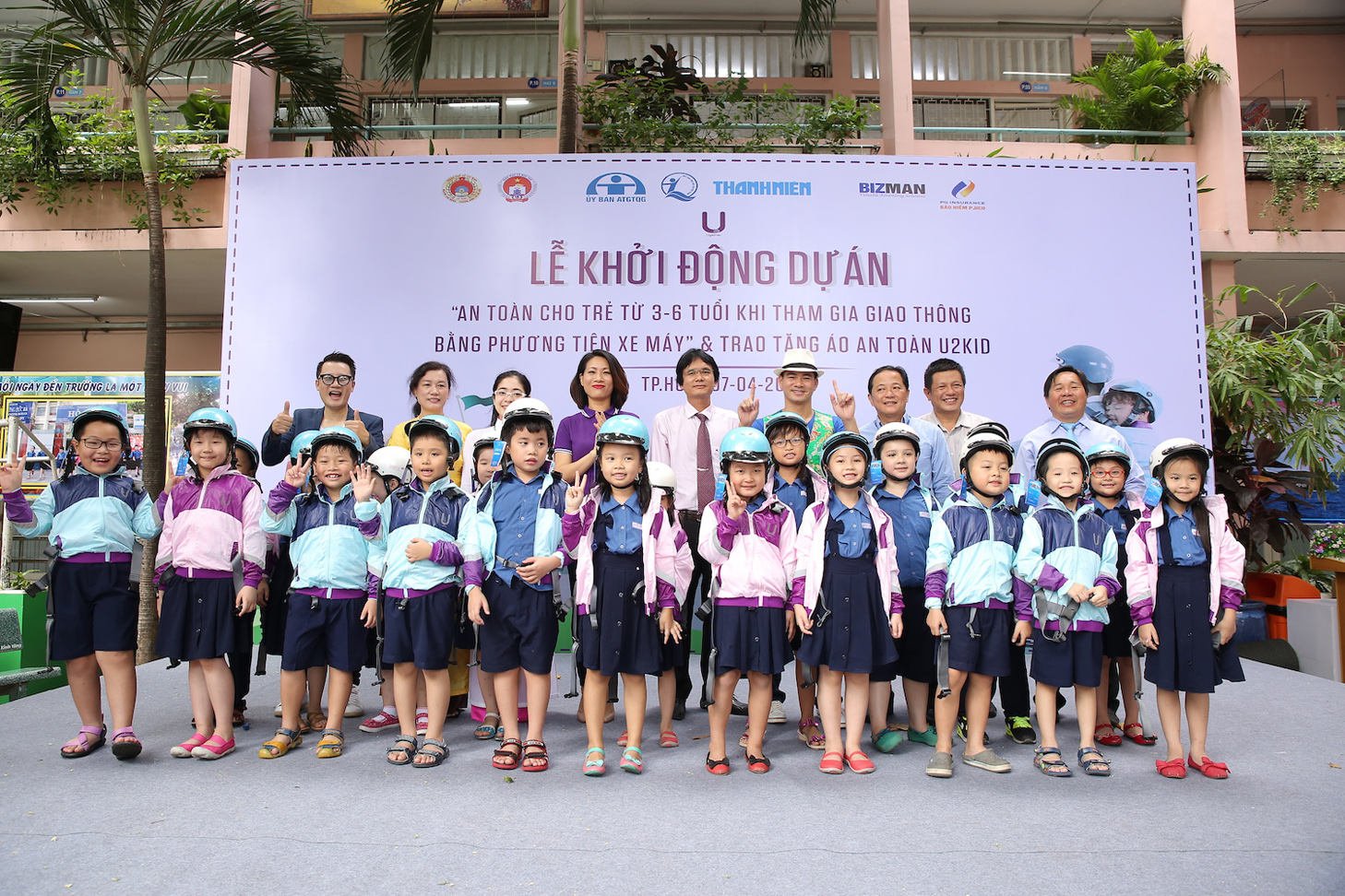 "THE LAUNCHING CEREMONY OF THE PROJECT ""SAFETY FOR 3 TO 6 YEAR-OLD CHILDREN ON TRAVELING BY MOTORBIKES"" & DONATION OF U2KID SAFETY CLOTHINGS, HELMETS"