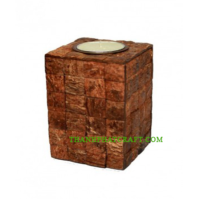 candle in coconut shell