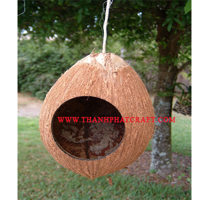 Coconut shell bird - house